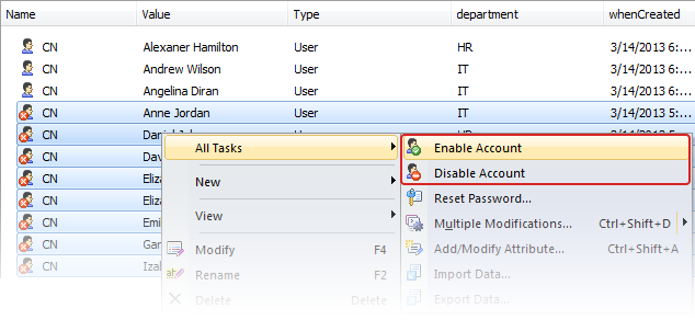 Enable/Disable User Account in Bulk
